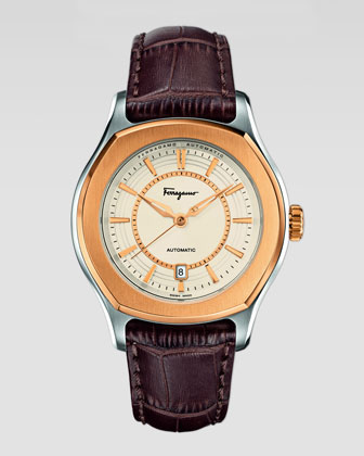 IP-Bezel Steel Automatic Watch, brown