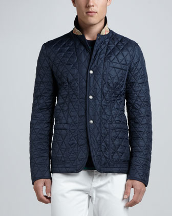 Howe Quilted Sport Jacket, Striped Crewneck Tee & Steadman Slim Fit Jeans ...