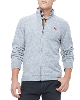 Check-Placket Zip Sweatshirt, Gray