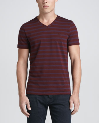 Striped V-Neck Tee, Navy/Red