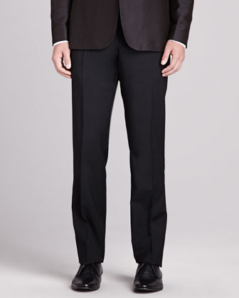 Slim-Fit Wool Pants, Black