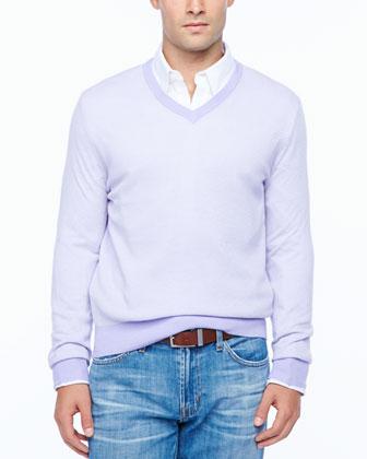 Birdseye V-neck sweater, lavender