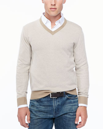 Birdseye V-neck sweater, sand