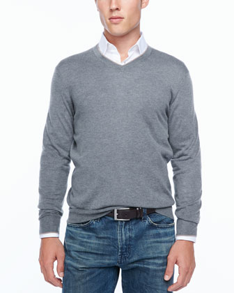 Tipped V-neck sweater, gray