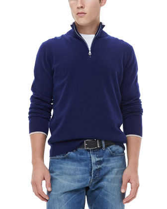Half-Zip Sweater with Contrast Trim, Navy