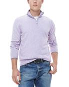 Half-Zip Sweater with Contrast Trim, Lavender