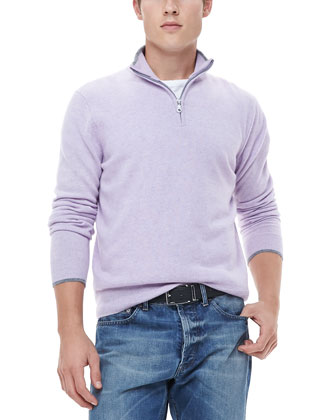 Half-Zip Sweater with Contrast Trim, Lavender