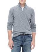 Half-Zip Sweater with Contrast Trim, Gray