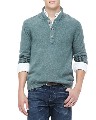 Shawl Collar Sweater, Green