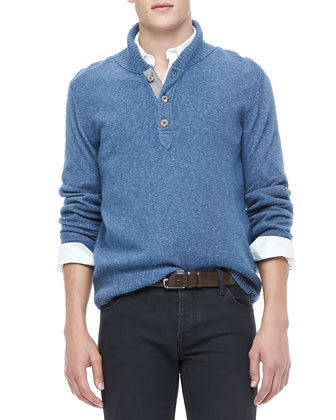 Shawl Collar Sweater, Blue