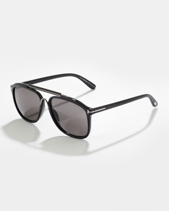 Cade Plastic Aviator Sunglasses, Black