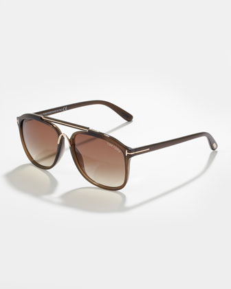 Cade Plastic Aviator Sunglasses, Havana Brown