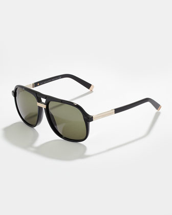 Acetate Aviator Sunglasses, Black/Shiny Rose Golden