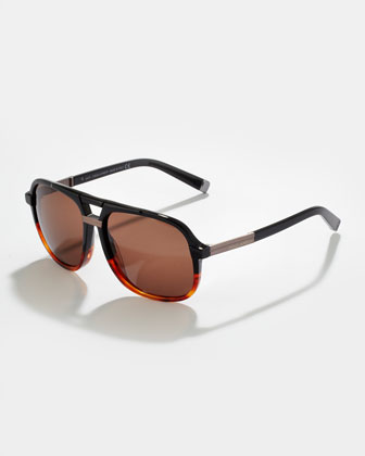Acetate Aviator Sunglasses, Black Gradient to Havana/Semi-Shiny Gunmetal