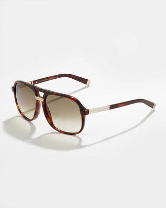 Acetate Aviator Sunglasses, Dark Havana/Shiny Rose