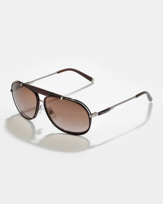 Leather Navigator Sunglasses, Havana