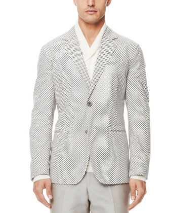 Mini-Skull-Print Blazer, Off White