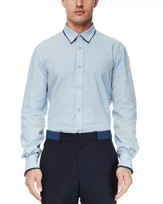 Double-Collar Skull-Print Shirt, Turquoise