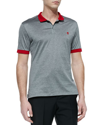 Short-Sleeve Skull Logo Polo, Gray/Red