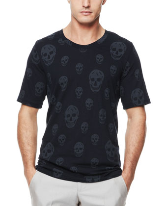 Allover Skull Crewneck Tee, Navy
