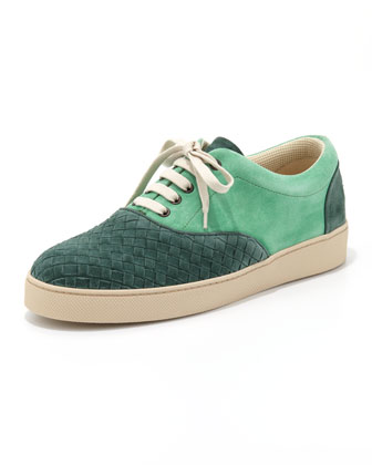Suede Woven Low-Top Sneaker, Green