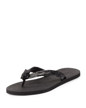 Men's Crocodile Thong Sandal, Black