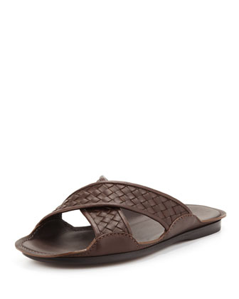 Cross-Woven Sandal, Brown