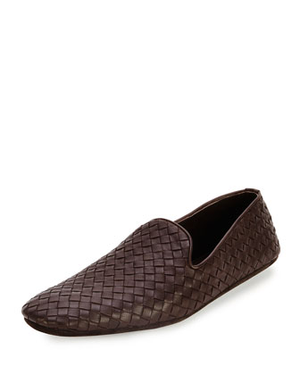 Woven Leather Slipper, Brown