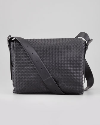 Men's Woven Flap Messenger Bag, Black
