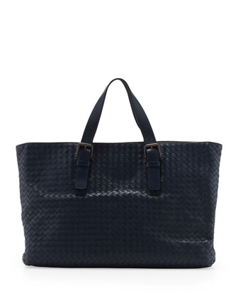 Large Woven Men's Tote Bag, Navy