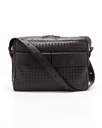 Woven Flap-Pocket Messenger Bag, Gray
