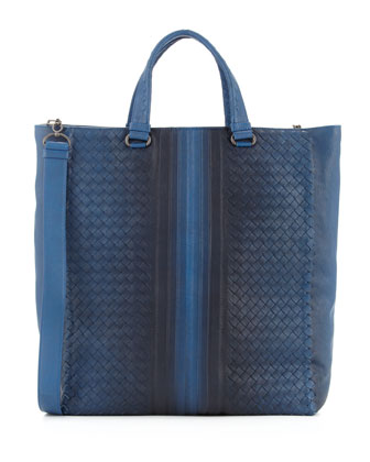 Woven Tote with Ombre Detail, Blue