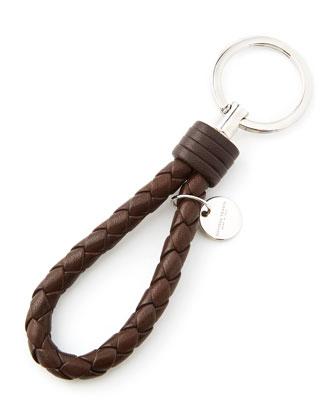 Intrecciato Leather Loop Key Chain, Brown