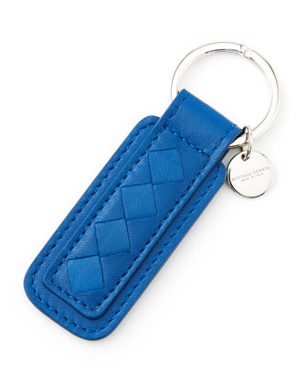 Intrecciato Leather Tab Key Chain, Blue