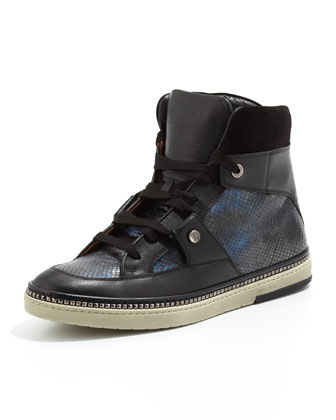 Barlowe Snake-Print High-Top Sneaker, Blue Mix