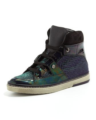Barlowe Glitter & Patent High-Top Sneaker, Purple Mix