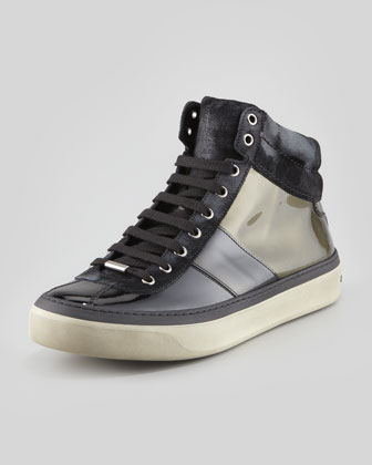 Belgravi Men's Ombre Patent Leather High-Top Sneaker, Olive
