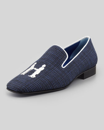 Drake Men's Sparkling Smoking Slipper, Navy