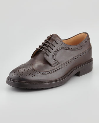 Leather Long-Wing-Tip Derby, Brown