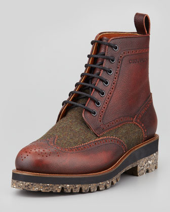 Leather & Tweed Wing-Tip Boot, Brown