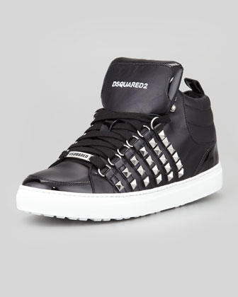 Studded Leather High-Top Sneaker, Black