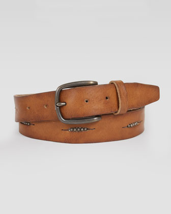 Ansel Bead-Detailed Leather Belt, Tan