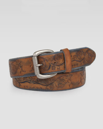 Ferguson Men's Floral Belt, Tan