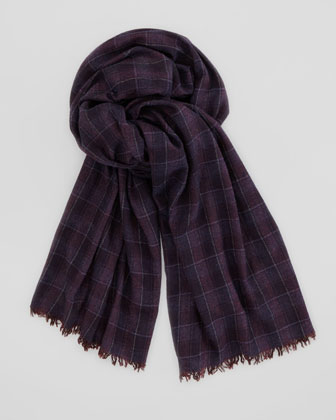 Plaid Cashmere Men's Scarf, Purple