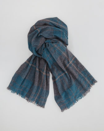 Plaid Cashmere Men's Scarf, Green