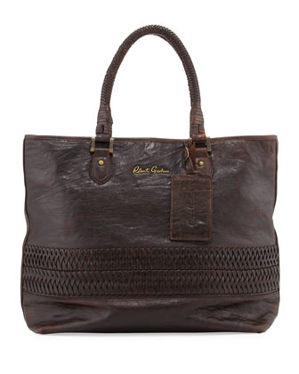 Men's Braided Leather Tote, Brown