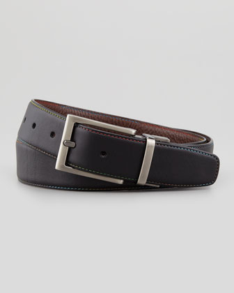 Vittorio Reversible Leather Belt, Black/Brown