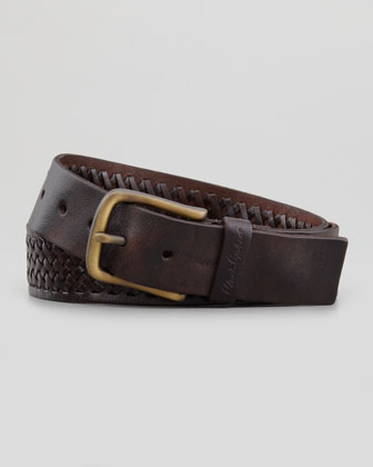 Horton Braided Leather Belt, Brown