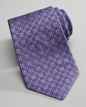 Pentagon-Neat Silk Tie, Purple