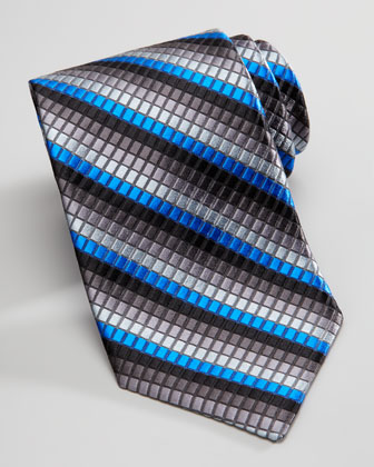 Textured Box-Stripe Silk Tie, Black